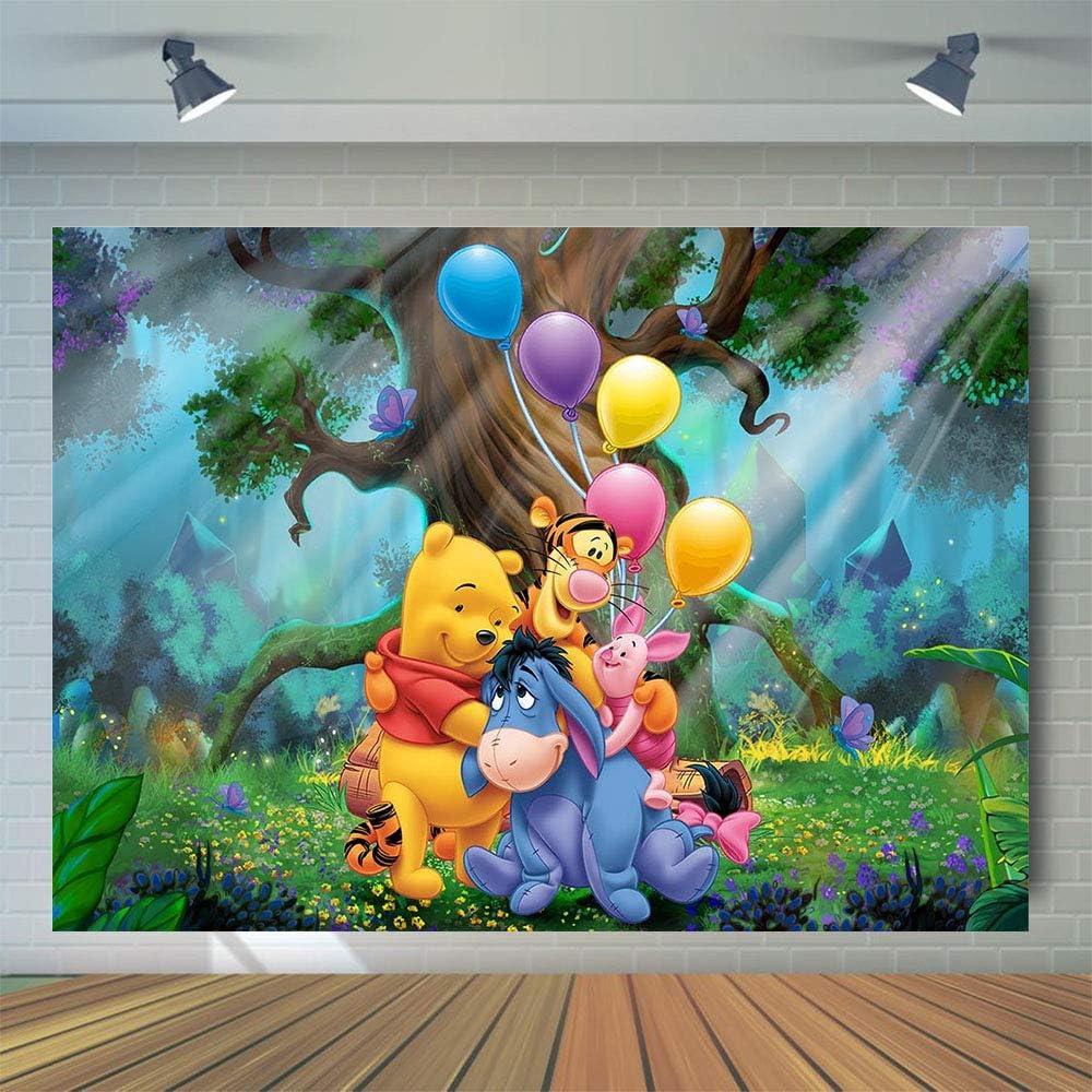 Fotohintergrund Für Baby Party Winnie Puuh Fotostudio Requisiten Cartoon Wald Niedlicher Tierballon Fotografie Hintergrund Vinyl 12