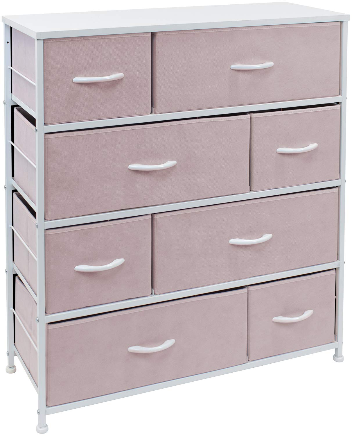Sorbus Dresser with 8 Drawers - Bedside Furniture & Night Stand End Table Dresser for Home, Bedroom Accessories, Office, College Dorm, Steel Frame, Wood Top (Pink)
