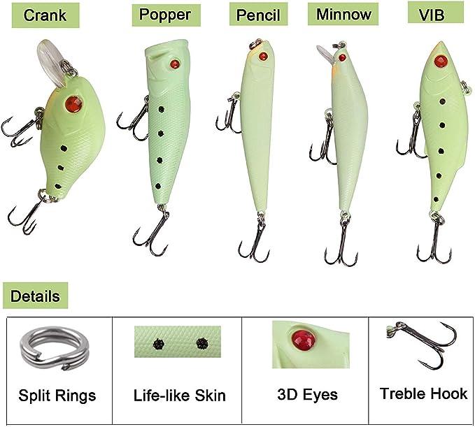 Pack of 3 Soft Crankbait Minnow Poper Bass Baits Luminous Fishing Lures