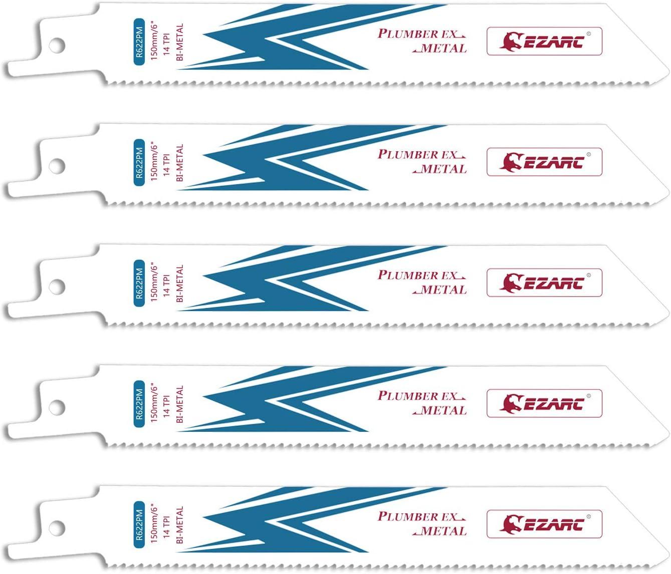 EZARC Hojas de sierra sable Bimetálica Cobalt R622PM 150mm 14TPI puede Cortar Metales - 5 piezas