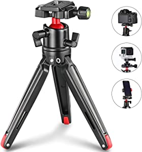 SMALLRIG Tabletop Tripod, Mini Desktop Travel Tripod Aluminum Alloy with 360 Degree Ball Head and Quick Release Plate Lightweight and Portable for Compact Cameras DSLRs, Phone, Gopro(Black)- 2287