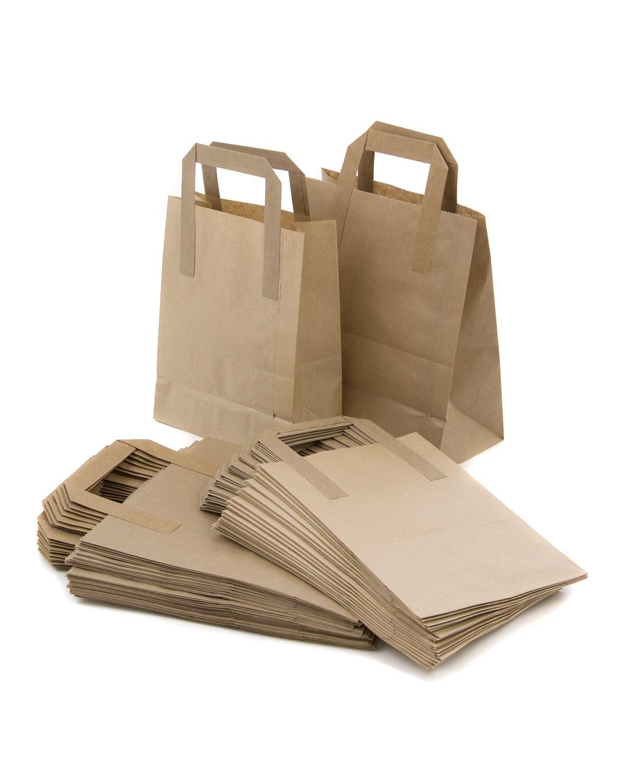 25 Brown Takeaway Kraft Paper Carrier Bags 7