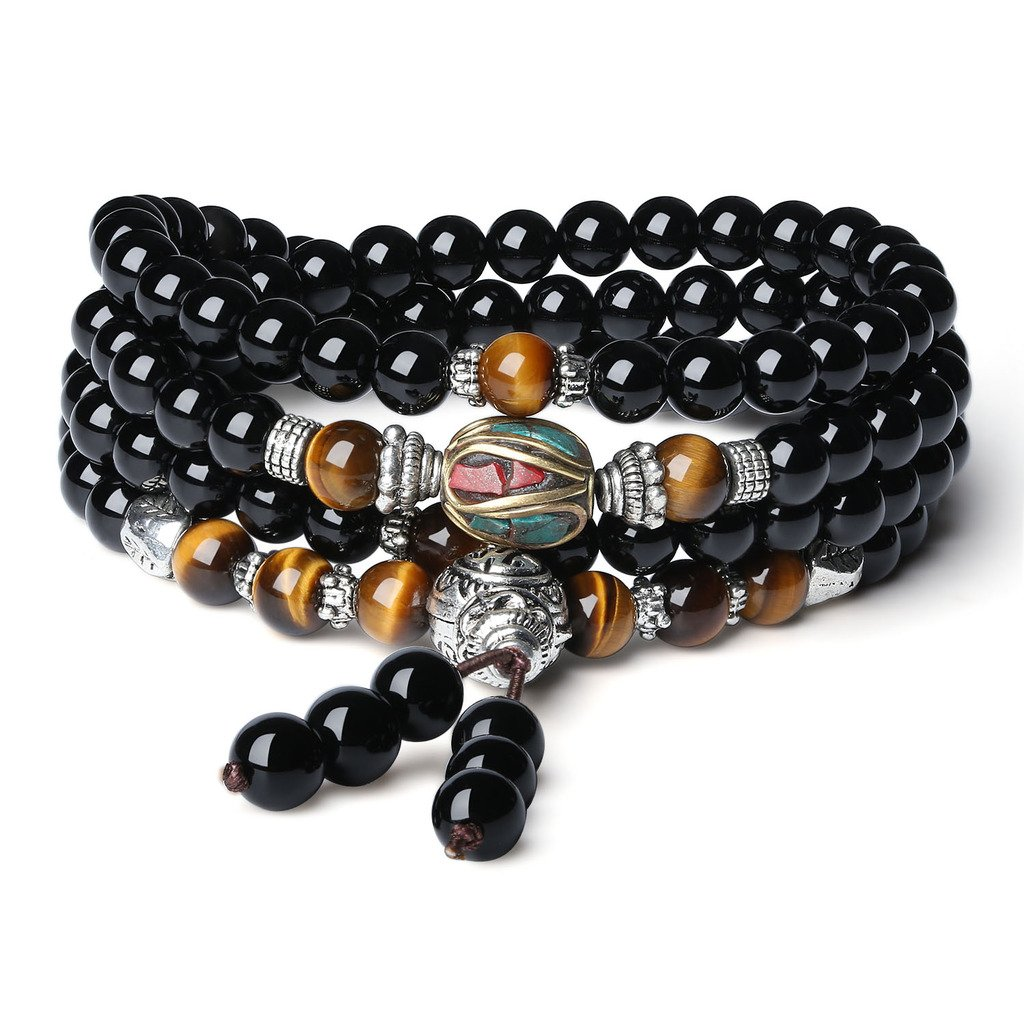 AmorWing Tibetan Multilayer 6mm Onyx and Tiger Eye Gemstone Mala Prayer Bracelet/Necklace N179-2