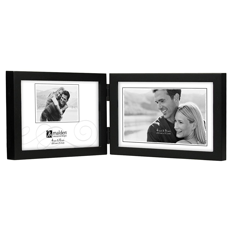 Malden International Designs Black Concept Wood Picture Frame, Double Horizontal, 2-4x6, Black Malden (Home Decor) 6416-46DH