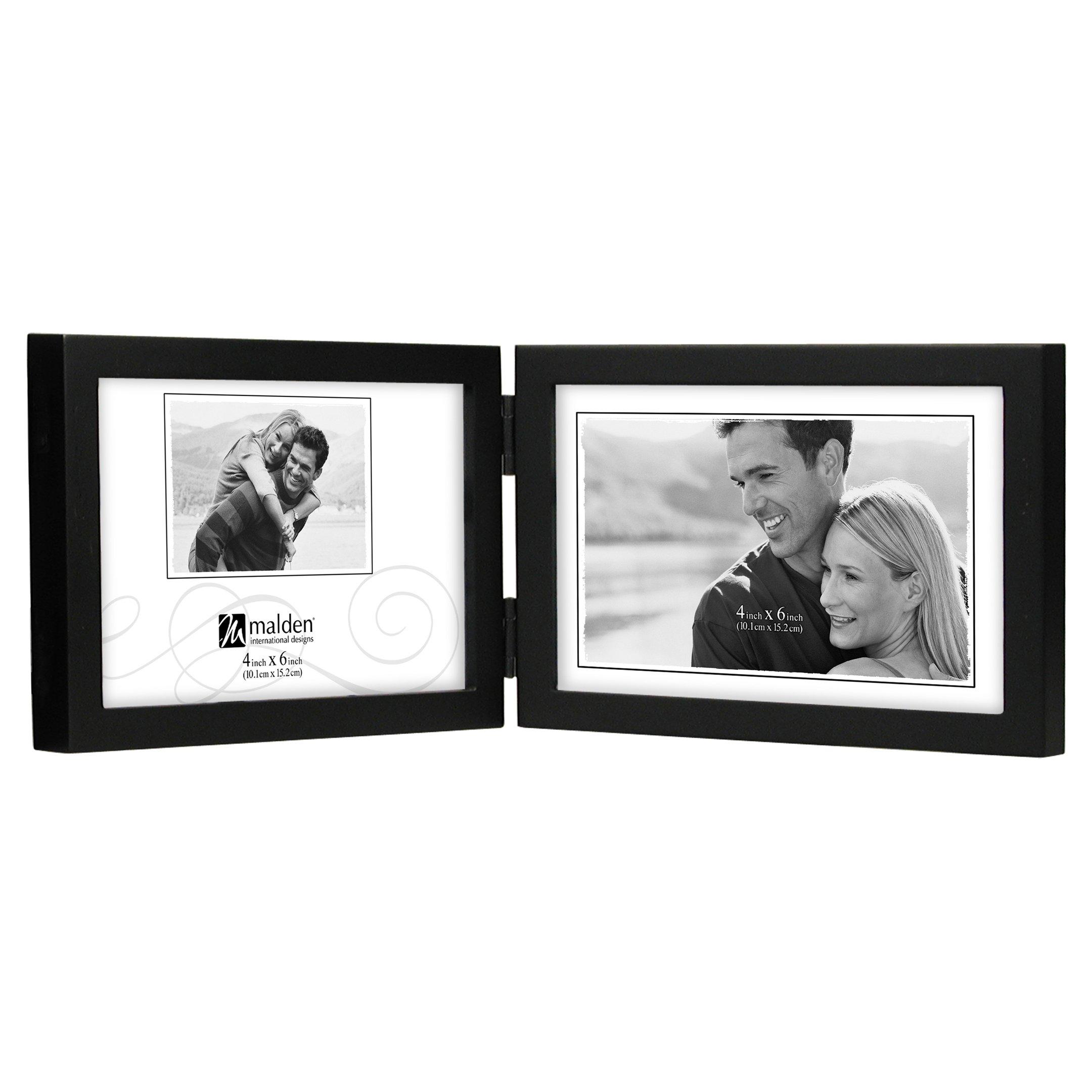 Malden International Designs Black Concept Wood Picture Frame, Double Horizontal, 2-5x7, Black by Malden International Designs