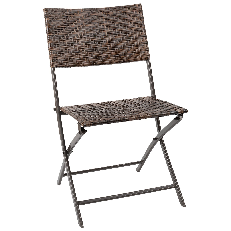 Flamaker Folding Patio Chair PE Wicker Rattan Chair Patio Furniture (Brown)