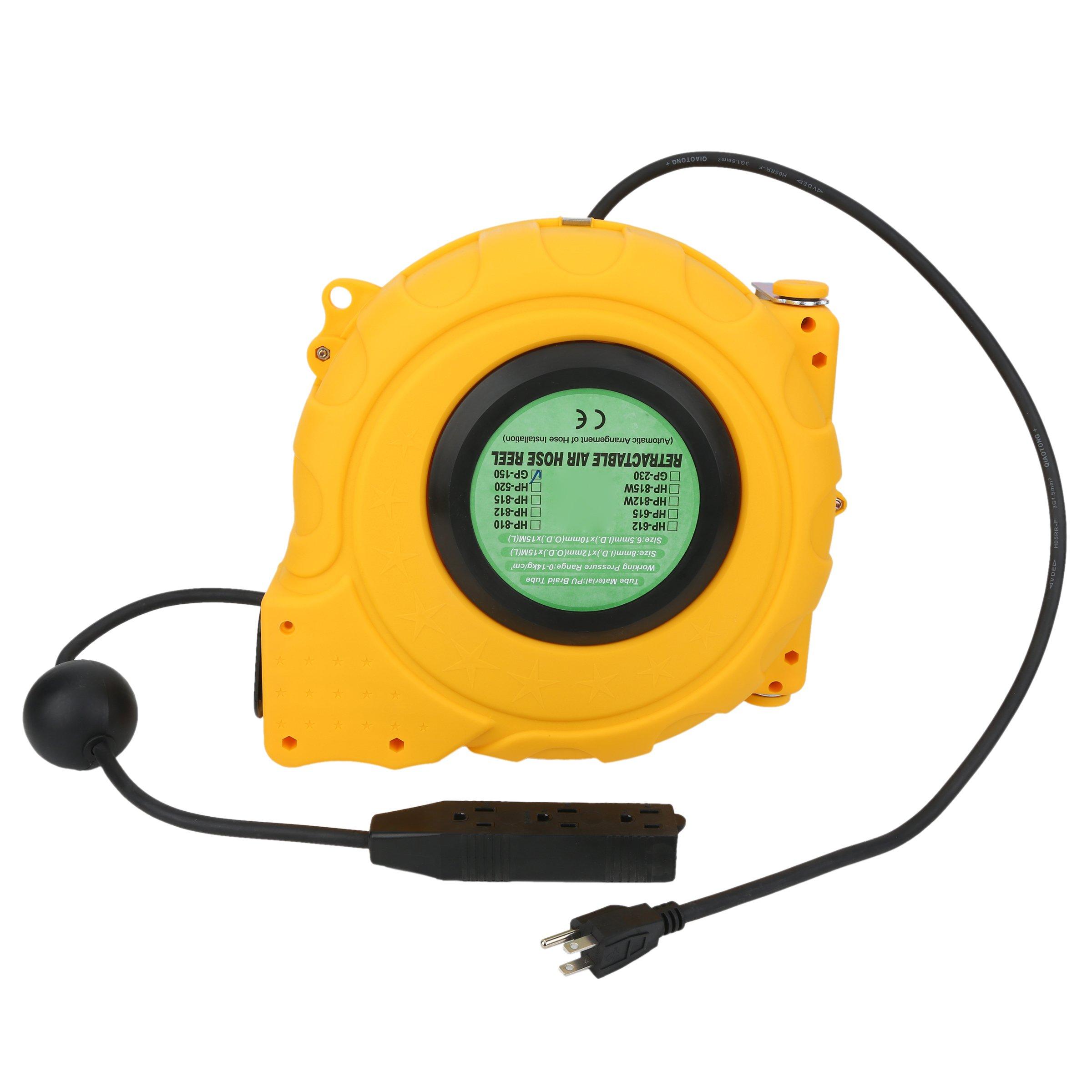 Valianto USA Standard Plug&Wire Design GP-150 50ft Electric Retractable Power Cord Reel