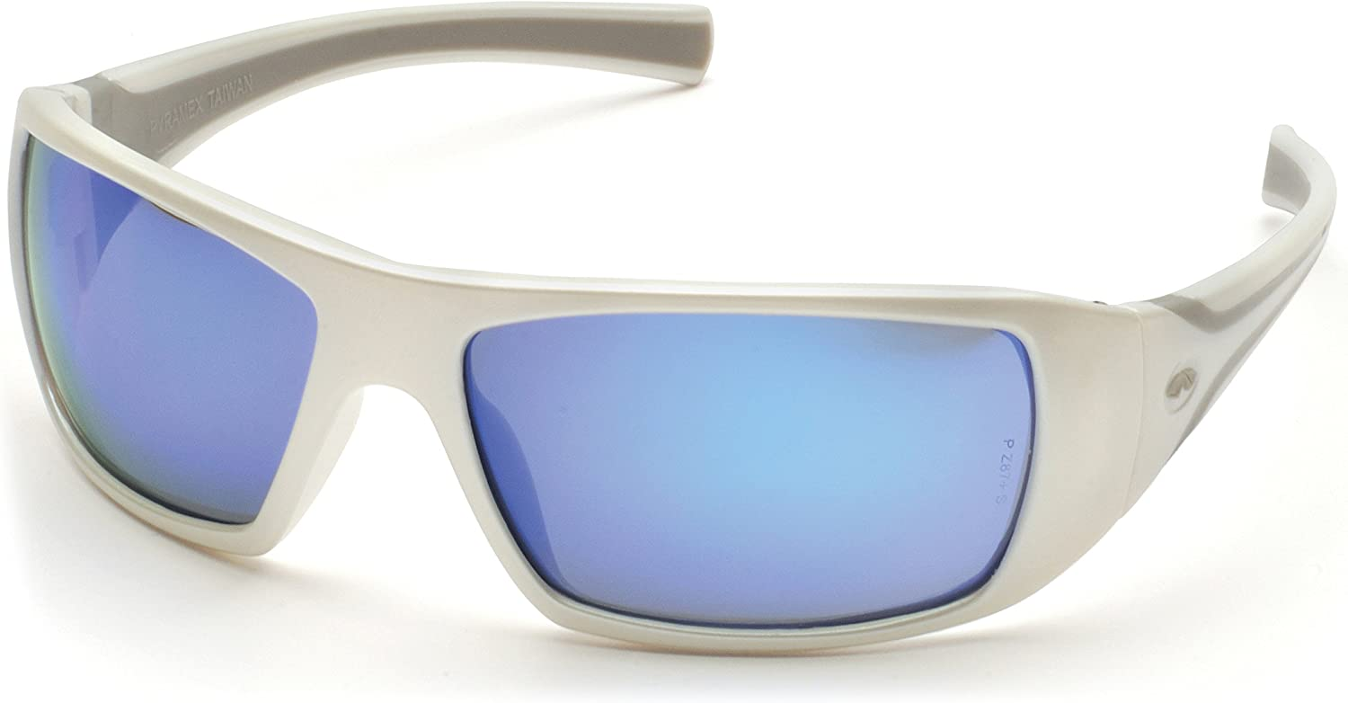 Pyramex Goliath Safety Eyewear, White Frame, Ice Blue Mirror Lens