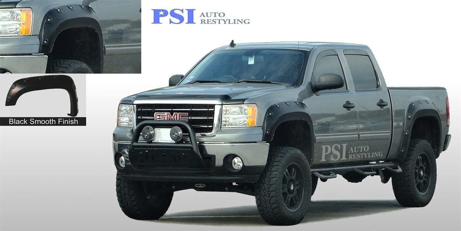 PSI Auto Restyling 805-0112 Pop-Out Style Fender Flares Front And Rear Oversized Flare Width 8.75 in Tire Coverage 2 in Smooth Black Pop-Out Style Fender Flares