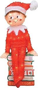 ProductWorks 24-Inch Pre-Lit Elf on a Shelf Christmas Yard Decoration, 50 Lights