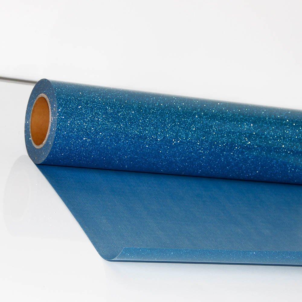 hoho sint/ética Sparkle Glitter papel de vinilo de prensa de transferencia de calor la ropa camiseta textil pel/ícula gr/áfica 50CMX50CM azul celeste