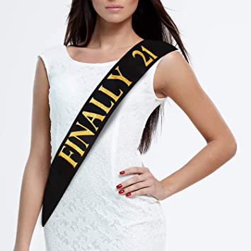 JPACO 21st Birthday Sash – Finally 21 Black Satin with Gold Glitter Stamped  Letters, Legal Drinking Age