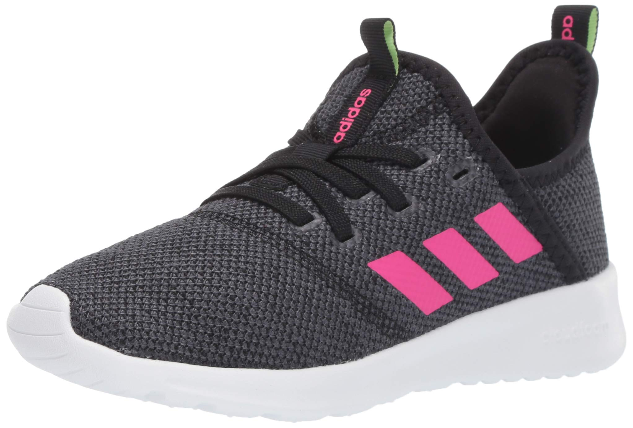 adidas Kids Cloudfoam Pure, Black/Shock Pink/Grey, 4.5 M US Big Kid
