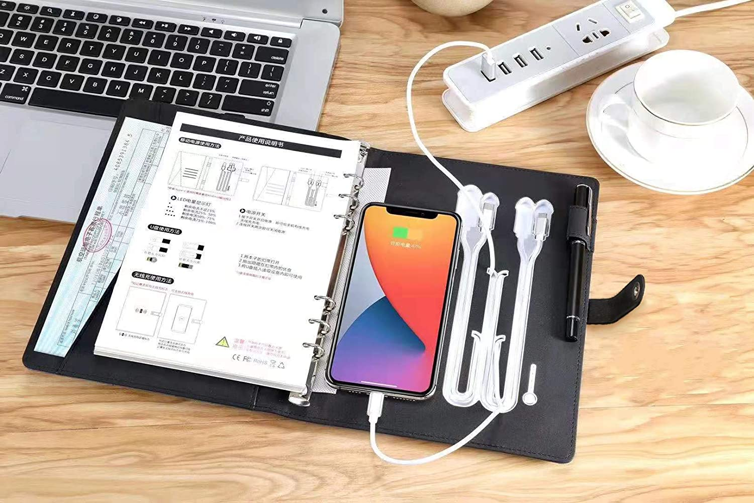 Wireless Charging Notebook Binder Spiral A5 Diary Book for Travel or Meeting Black Five-Feelings Multifunctional 8000MAh Business Padfolio Power Bank Note Book PU Leather Wireless Charging Notepad