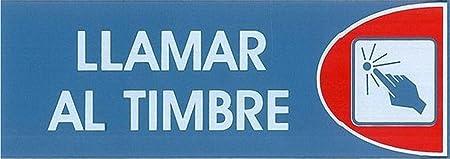 LLAMAR AL TIMBRE. CARTEL LETRERO ADHESIVO 18 X 6 CMS. PLACA ADHESIVA SEÑAL