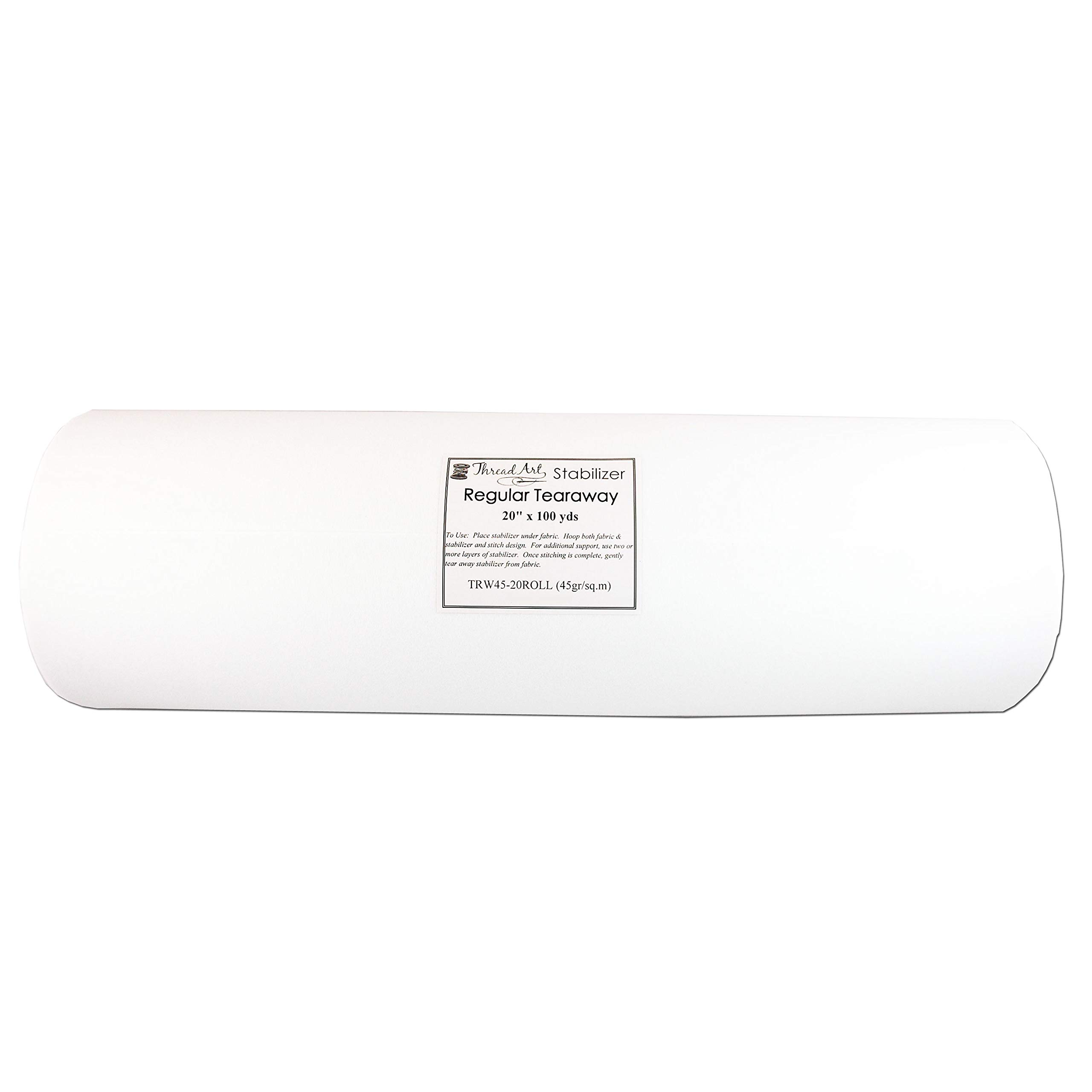 Threadart Tearaway Embroidery Stabilizer | 1.6 oz Medium Weight | 20'' x 100 yd roll | For Machine Embroidery | Also Available Over 20 Additional Styles of Cutaway, Washaway, Tearaway, Sticky in Rolls and Precut Sheets by Threadart