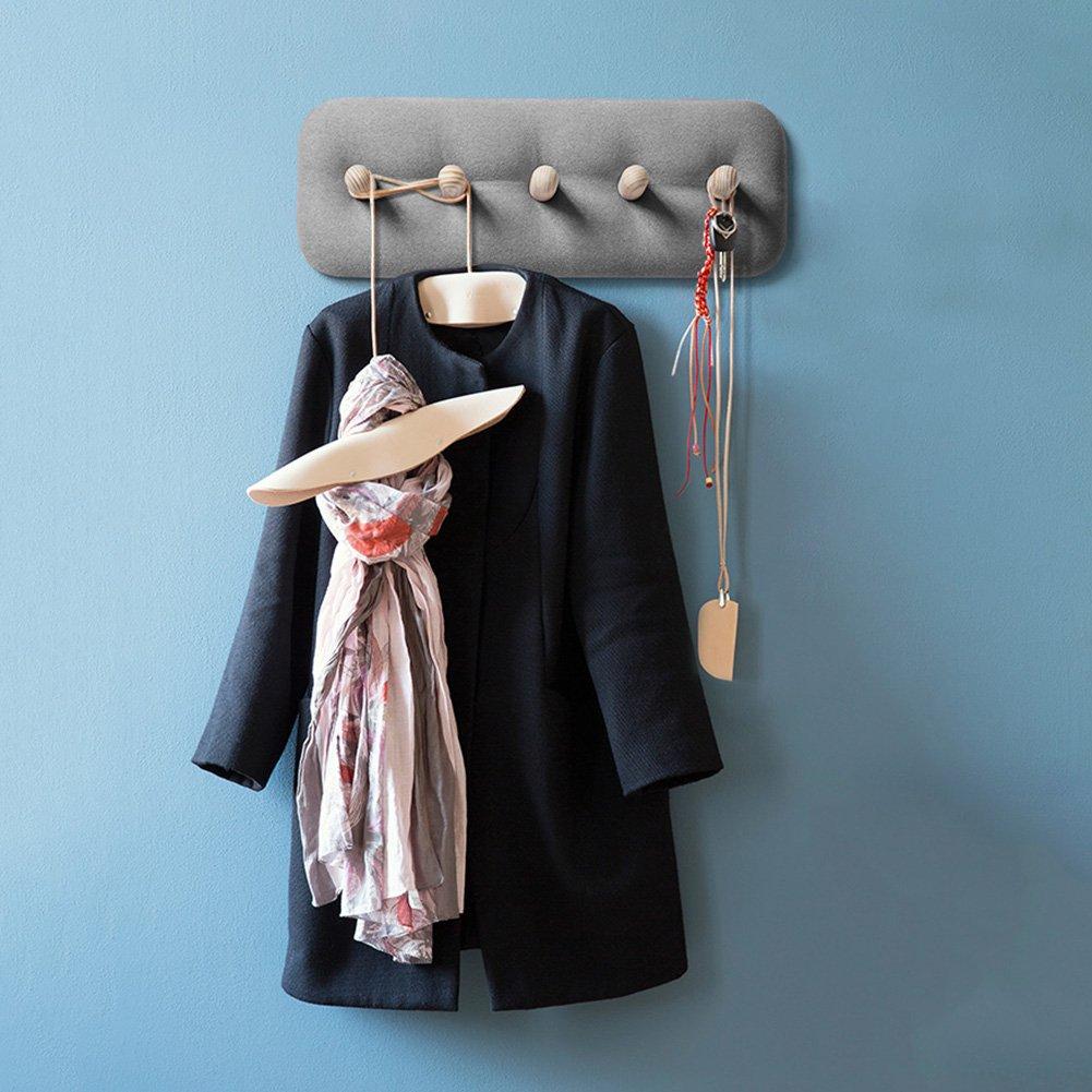 LIANGJUN ウォールハンガー 無垢材 バッグ 5フック リビングルーム、 3色可、 60X22cm ( 色 : グレー ) B07B8HLMLWグレー