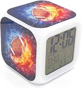 Boyan New American Football Ice Fire Sports Led Alarm Clock Creative Red Desk Table Clock Multipurpose Calendar Snooze Glowing Led Digital Alarm Clock for Unisex Adults Kids Toy Gift