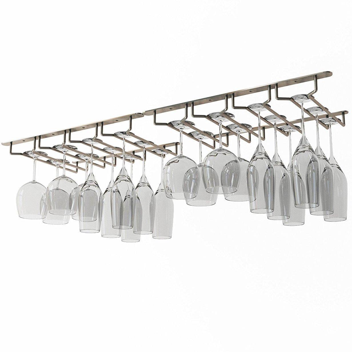 Wallniture Under Cabinet Stemware Glass Hanger Rack Kitchen or Bar Storage Oil Rubbed 10 Inch Deep Set of 2