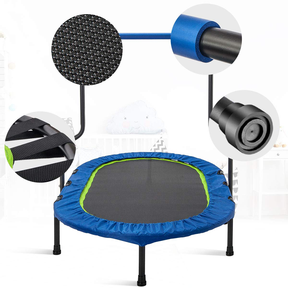 Merax Mini Rebounder Trampoline with Handle for Two Kids, Parent-Child Trampoline (Blue) by Merax (Image #3)