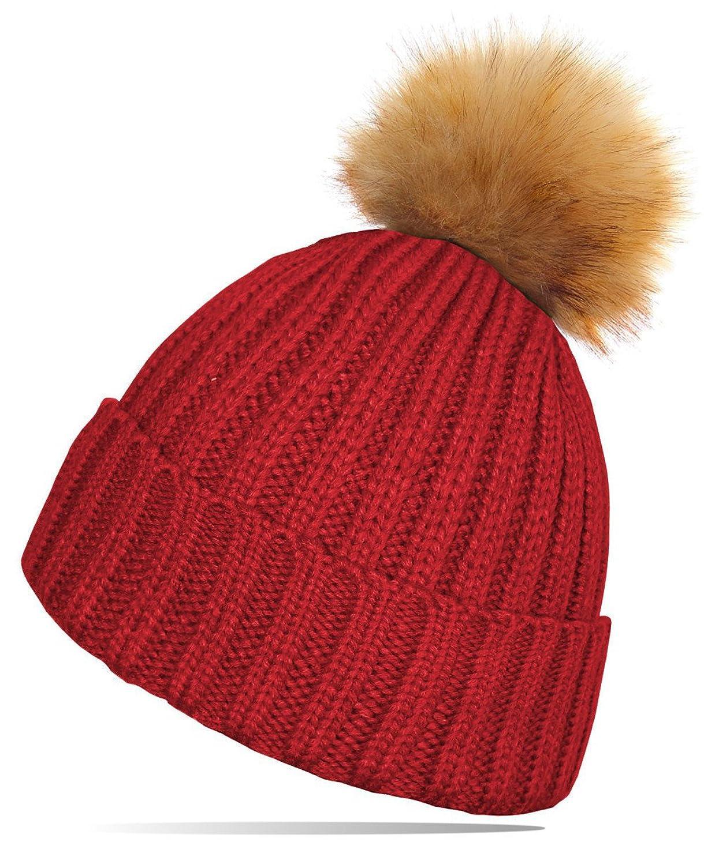 dy_mode Damen Strickmütze mit großem Kunstfell Bommel / Winter Mütze Ski Mütze mit Bommel - A020