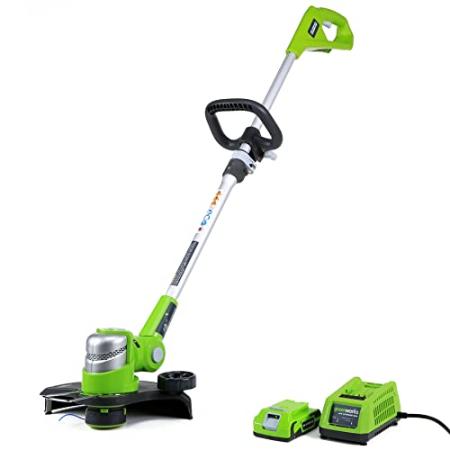 Greenworks 12-Inch 24V Cordless String Trimmer Edger, 2.0 AH Battery Included 21342
