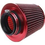 voiture Air filtre - SODIAL(R) universel voiture Air filtre vehicule Induction Kit haute puissance Mesh cone finition rouge