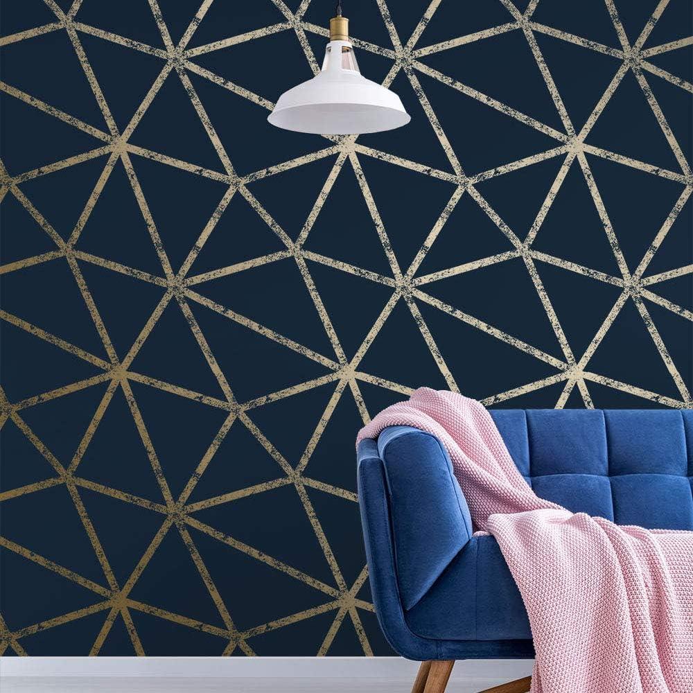 Gold I Love Wallpaper Framework En D/étresse Metal Wallpaper Navy ilw264257