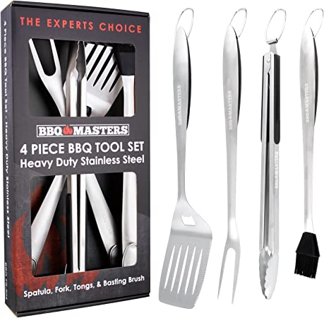 BBQ Masters Heavy Duty 4 Piece BBQ Grilling Tools Set – Extra Thick Stainless Steel Barbecue Grill Accessories – 18 Spatula, Tongs, Fork and Basting Brush Utensils