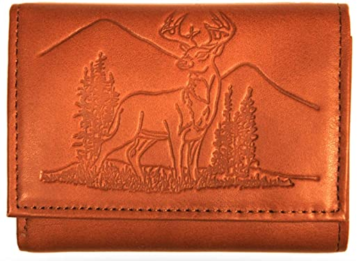 4e181353a50d Men's Deer Scene All Leather Debossed Trifold Wallet