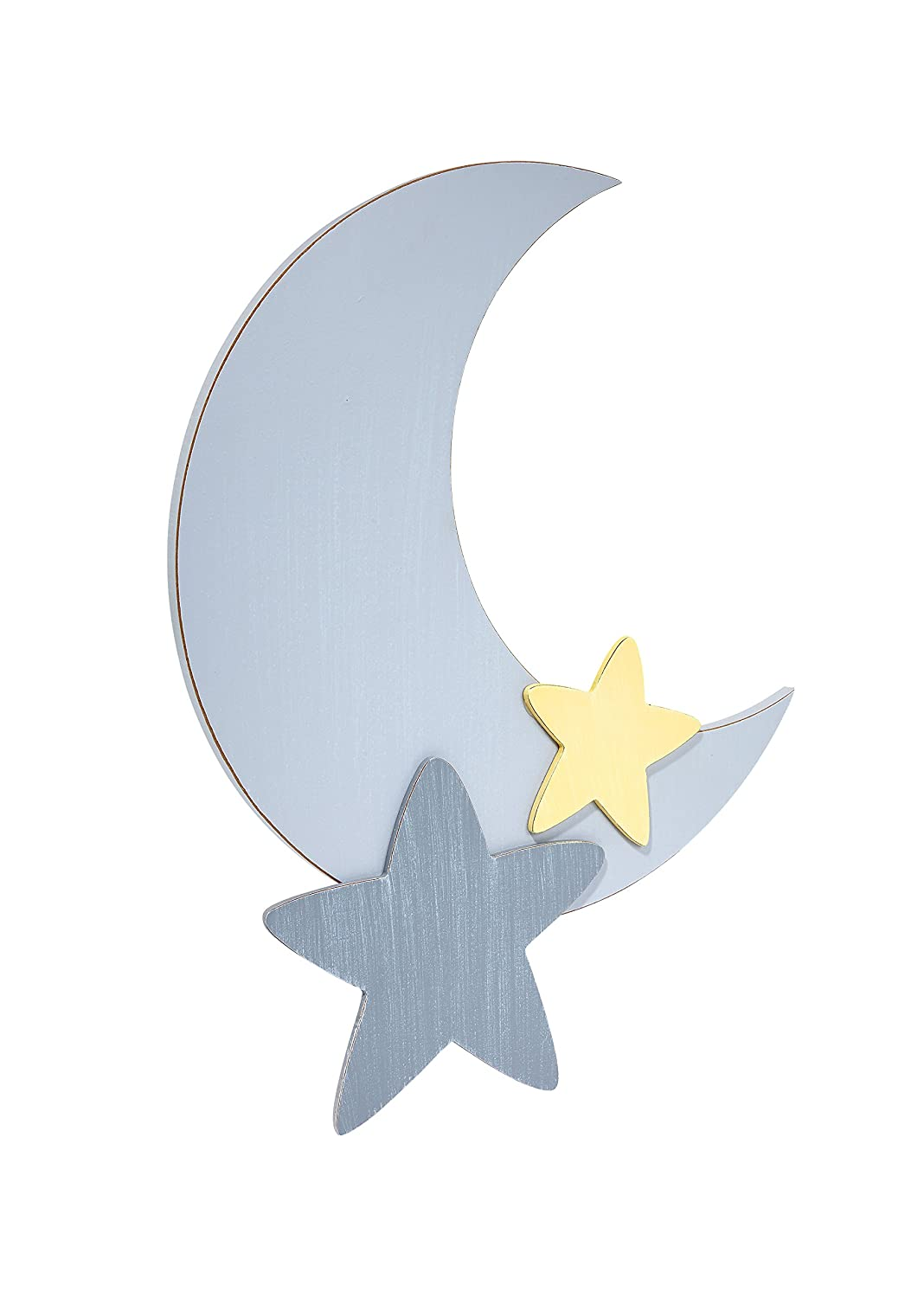 Little Love by NoJo Separates Collection Star and Moon Shaped Wall Art, Grey Crown Craft Infant Products 6602973
