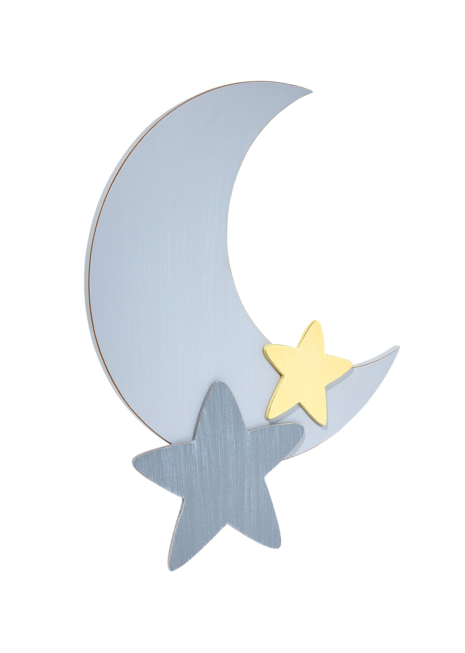 Little Love by NoJo Separates Collection Star and Moon Shaped Wall Art, Grey