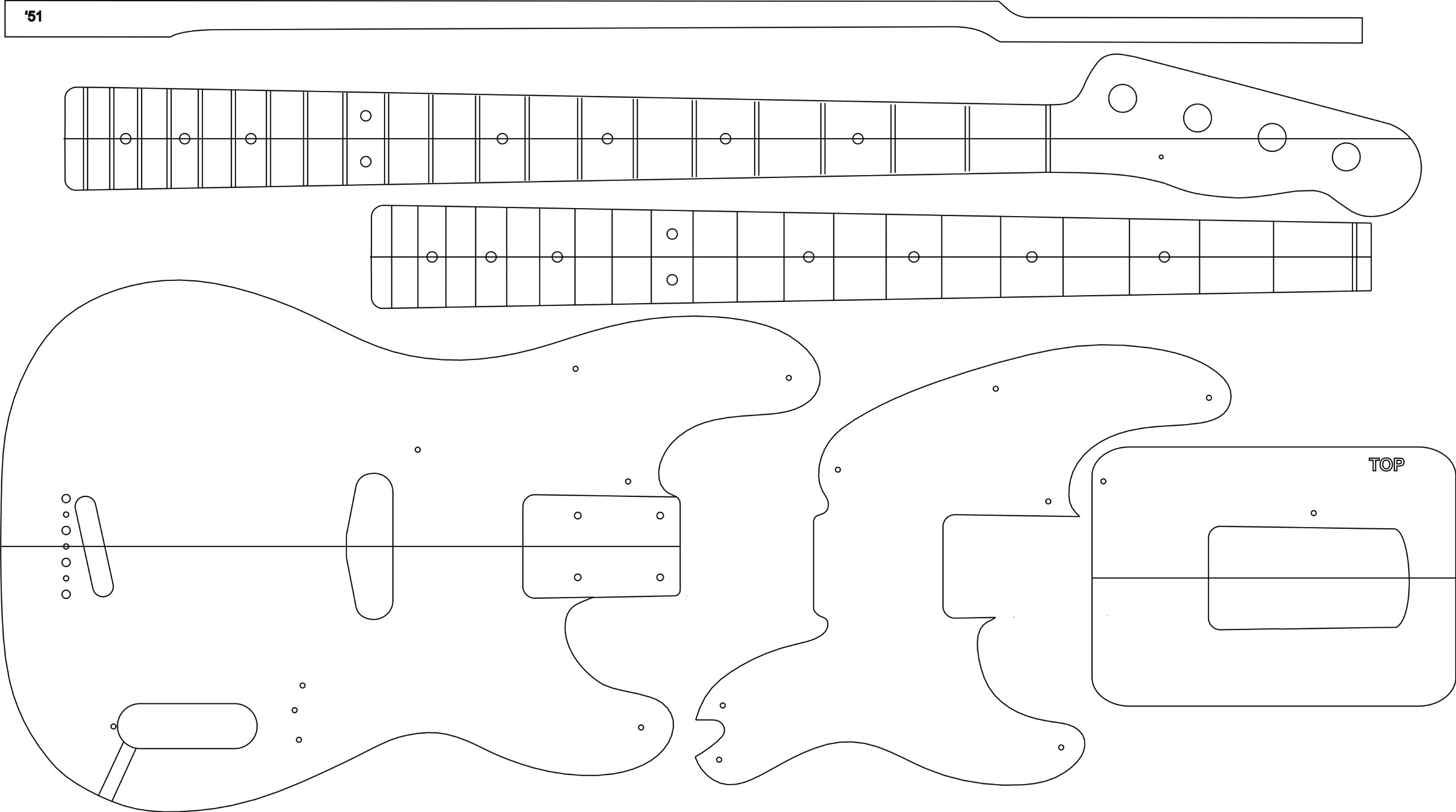 Electric Guitar Layout Template - '51 P BASS