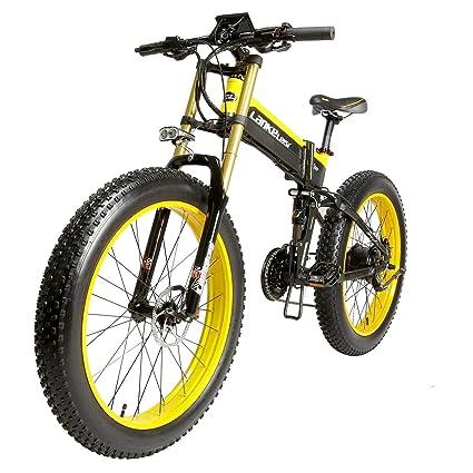 LANKELEISI Bicicleta eléctrica Plegable de 26 Pulgadas, Shimano de 27 velocidades, 48 V,