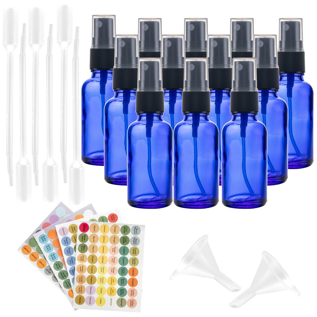 12Pcs Blue Glass Spray Bottles, Blue Essential Oil Bottles for Cleaning Products, Perfume, Homemade Cleaners and Aromatherapy with 6 Droppers, 2 Funnels, 1 Sheet Label Stickers