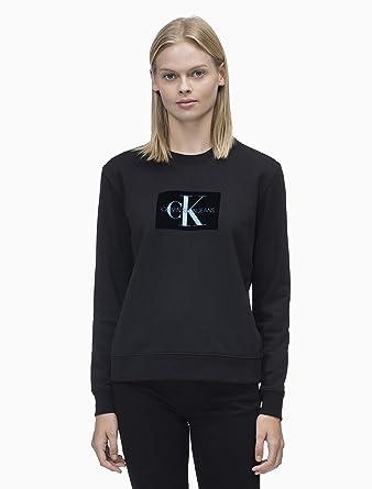 Calvin Klein Sudadera Jeans Monogram Flock Mujer L Negro: Amazon.es: Ropa y accesorios