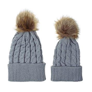 Xiaxiacp Warme Mütze Ski Mütze Stricken Häkeln Beanie Hut Eltern