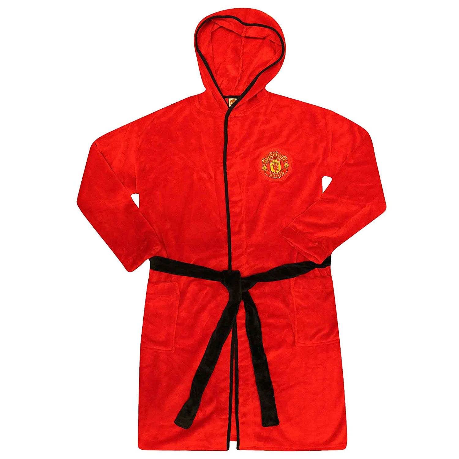 d234b0d21b Official Adults Manchester United Hooded Dressing Gown Bathrobe (100%  Polyester Fleece - Sizes S to XL) (MEDIUM)  Amazon.co.uk  Sports   Outdoors