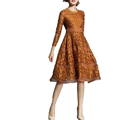Trendy-Nicer Dresses Hollow Out Women Long Sleeve Casual Lace Knee Length Dress Vestidos,