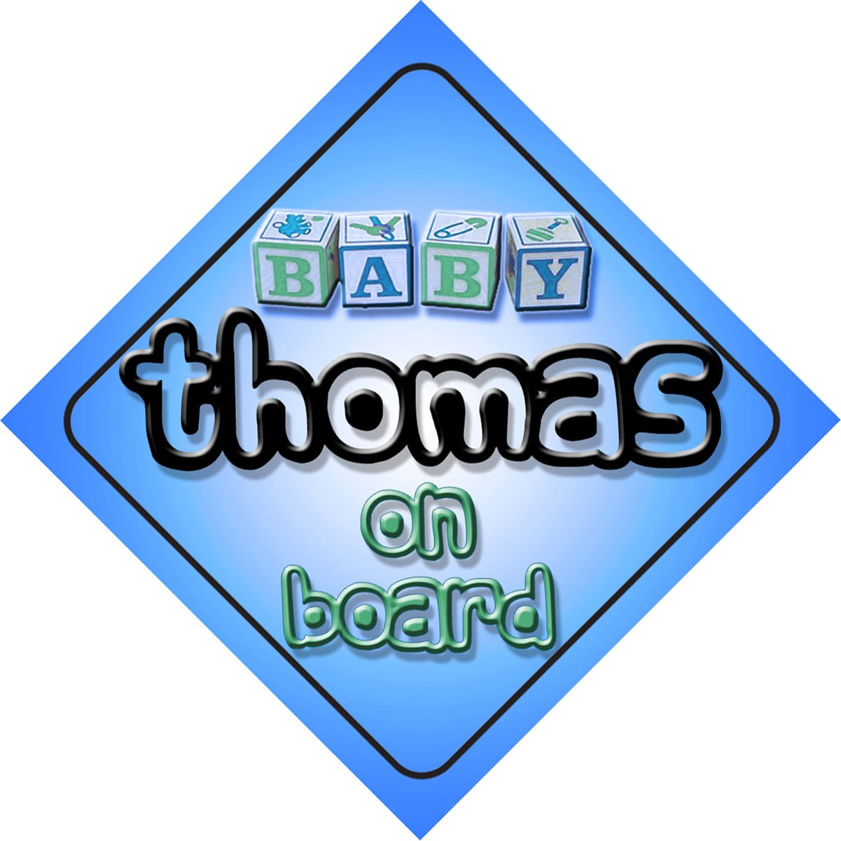Baby Boy Thomas on board novelty car sign gift//present for new child//newborn baby