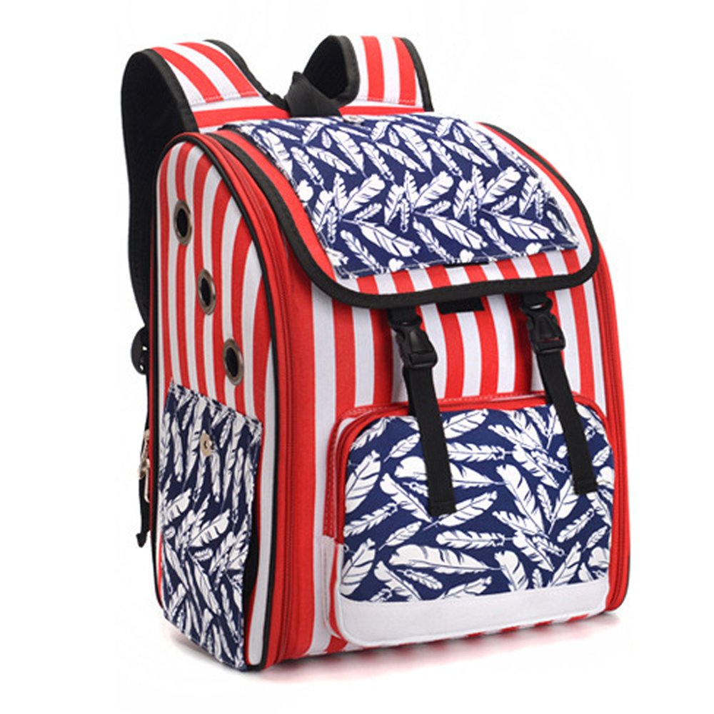 FurryTastic Study Pet Carrier Backpack Airline Approved Collapsible Dog Carrier Best Cat Carrier for Small Breed Dogs Cats Kittens and Puppies (Red White Stripes with Blue Leaves Windows)