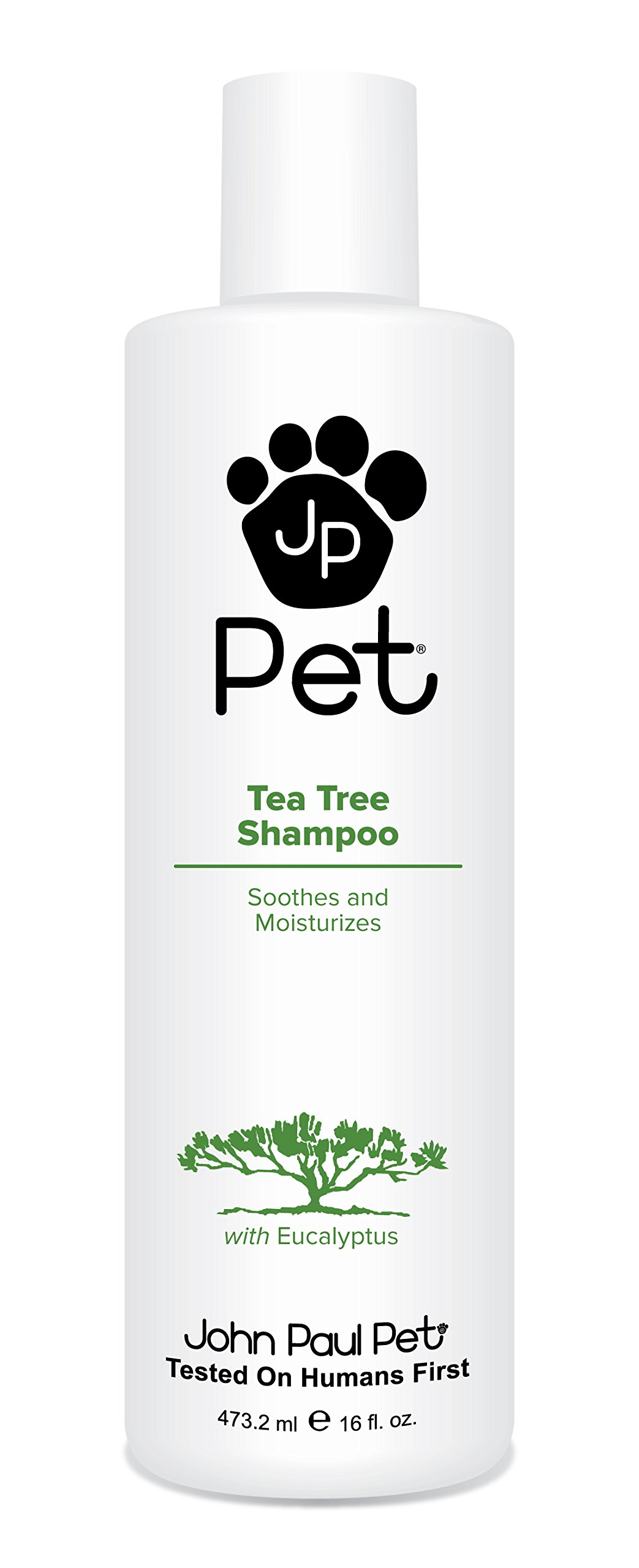 John Paul Pet Australian Tea Tree and Eucalyptus Oil Shampoo for Dogs and Cats, Cleanses Moisturizes and Soothes Skin Irritations, 16-Ounce