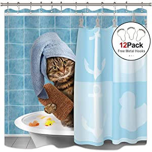 Riyidecor Funny Animal Cat Shower Curtain Free Metal Fabric Hooks 12-Pack Kitten Yellow Rubber Duck Head Wrapped Bath Towel Blue Decor Fabric Set Polyester 72x72 Inch