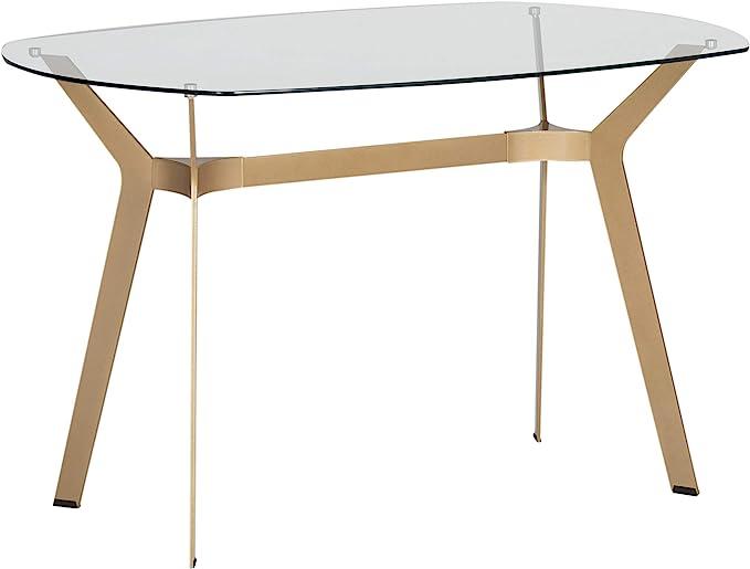 Amazon Com Studio Designs Home Archtech Modern Glass Desk Dining Table 48 Gold Clear Glass Furniture Decor