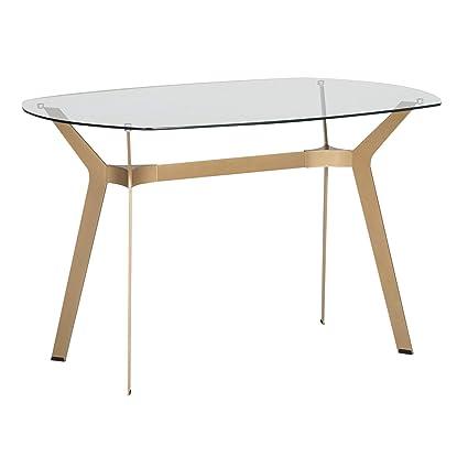 Stupendous Studio Designs Home 71013 Archtech Modern Glass Desk Dining Table 48 Gold Clear Glass Download Free Architecture Designs Photstoregrimeyleaguecom