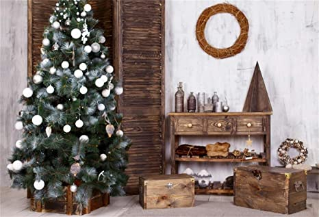 csfoto 7x5ft background christmas tree with white balls rustic christmas decor inside photography backdrop wood boxes