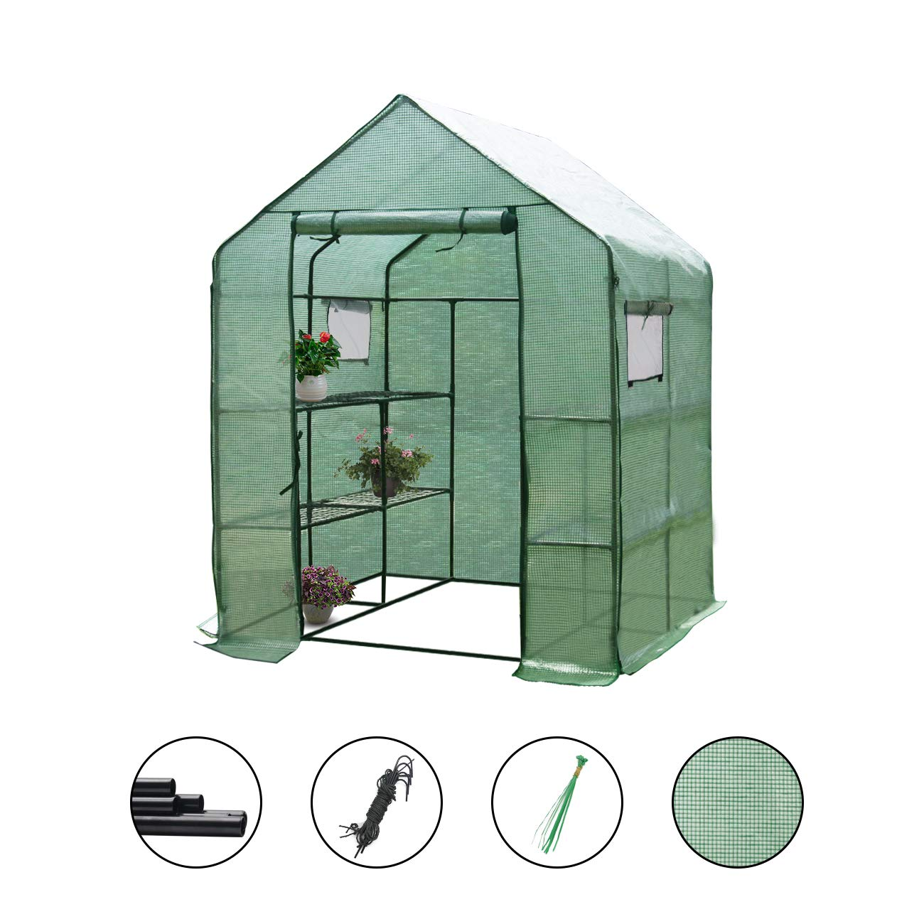 Large Walk-in Greenhouse with PE Cover 57'' L x 57'' W x 77'' H, 3 Tier 8 Shelves,Window Version and Roll-Up Zipper Door, Waterproof Cloche Portable Green House,Outdoor Gardening Organic Greenhouse by LYNSLIM