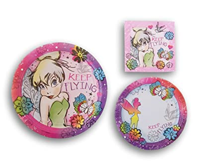 Tinkerbell Fairy \u0026quot;Keep Flying\u0026quot; Pattern Party Set - Dinner Plates Beverage Napkins  sc 1 st  Amazon.com & Amazon.com: Tinkerbell Fairy \