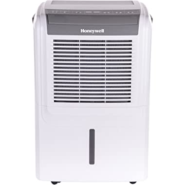 Honeywell Energy Star 50 Portable Built-in Vertical Pump with 14.4-Pint Bucket Capacity, LED Display and Digital Humidstat Control, White Dehumidifier, pint/3000 sq. ft Gray