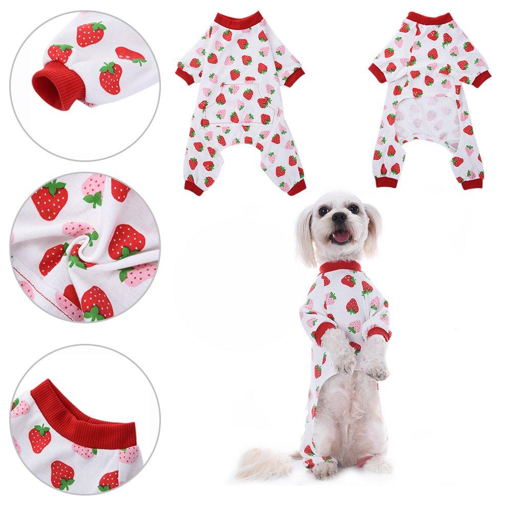 Ropa para perros Camisa para perros Pijamas de algodón de patrón de ...